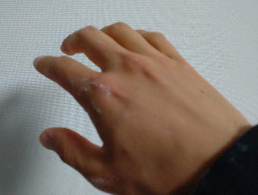 手についたマッドプロテインの粉